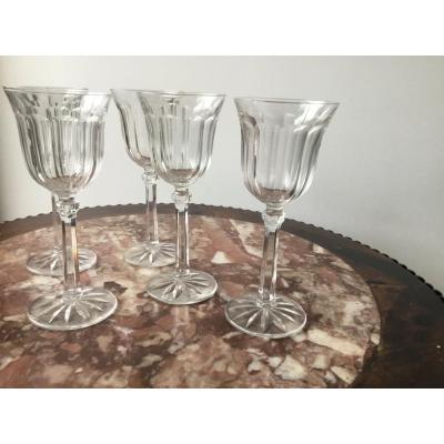 Suite De 5 Verres à Vin En Cristal , Prob Baccarat , Début XXème