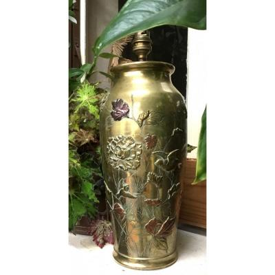 Japon - Époque Meiji Grand Vase En Bronze à 3 Patines
