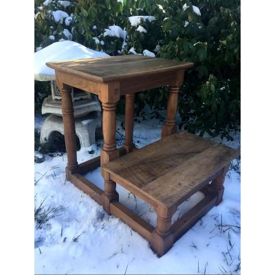 Library Step In Natural Wood, XIXth