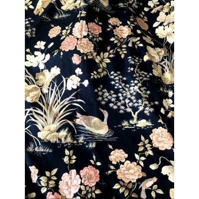 Pair Of Double Curtains With Japanese Decor, Twentieth