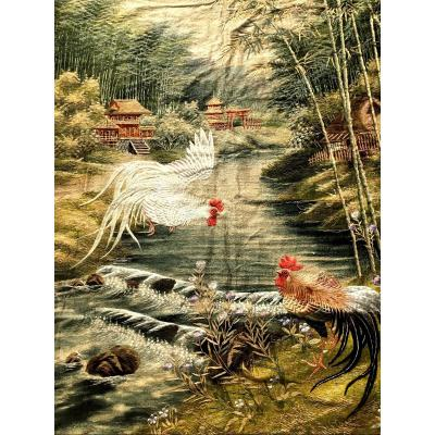 Large Hanging In Linen And Silk Embroidered Nineteenth With Roosters Decor. Japan XIXth