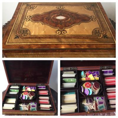 Napoleon III Token Box In Marquetry Box