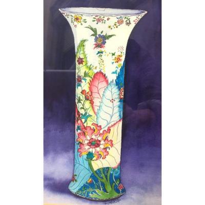 Aquarelle Art Nouveau , Vase Aux Feuillages, Signé