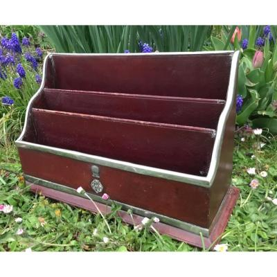 English Mail Organiser , Leather And Silver