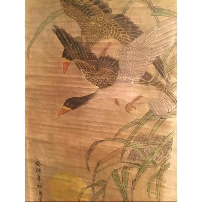 Peinture Sur Rouleau Décor D'oies Sauvages - Japon  Période Meiji