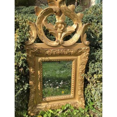 Mirror With Pediment In Golden Wood, Eighteenth
