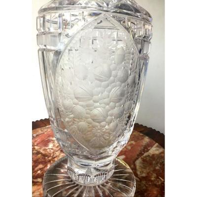 Important Vase En Cristal Taillé Et Gravé, Vers 1900