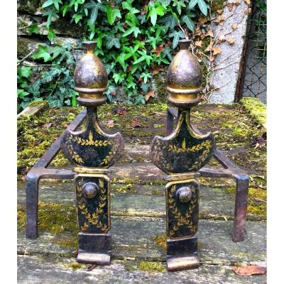 Pair Of Andirons In Painted Sheet, D Charles X Period