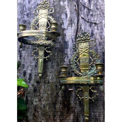 Paire D'appliques De Style Empire En Bronze Doré
