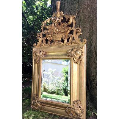 Miroir Louis XIV,  Bois Mouluré Et Doré cartouches COEUR , XVIIIème