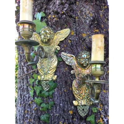 Paire D'appliques Aux Angelots Ailés En Bronze, XIXème