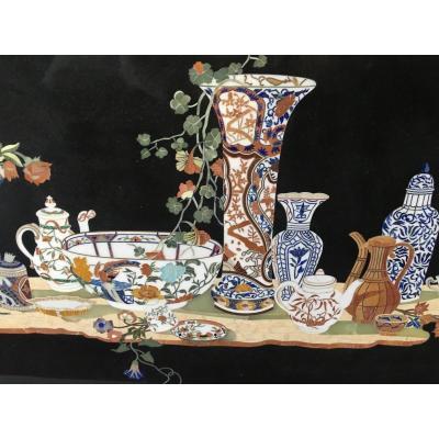 Plateau En Marqueterie De Pierres Dures à Décor De Porcelaines 137 cm