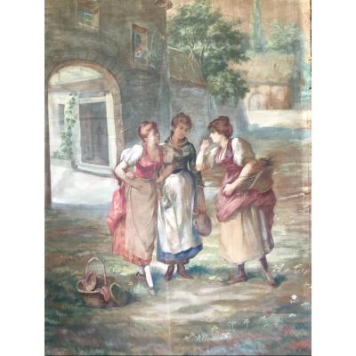 Grande Toile Peinte , Dans L Esprit Des Tapisseries, XIXème(179 cm)