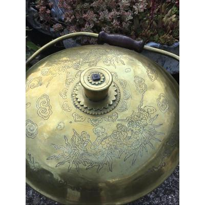 Engraved Copper Charcoal Bucket, Indochina, Late Nineteenth