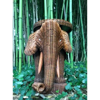 Rattan Elephant Trolley From The 1970s.