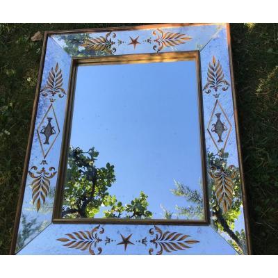 Miroir Verre Églomisé, Décor à L'antique