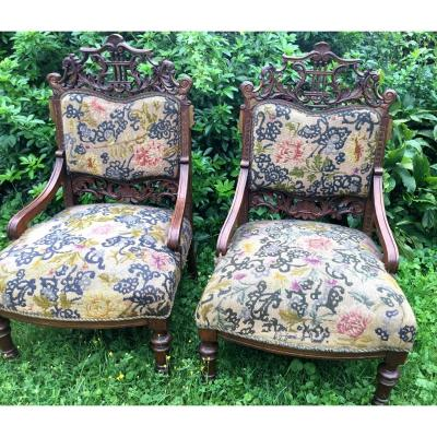 Pair Of Carved Armchairs, Eclectic Decorative Art, Napoleon III