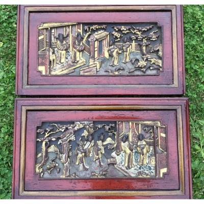 Paire De Tableaux Sculptés Scènes De Cour , Chine