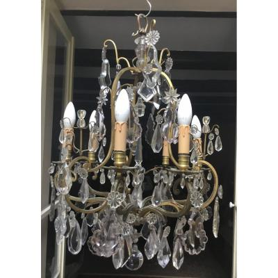Cage Chandelier In Gilt Bronze And Large Crystal Pendants