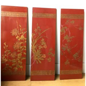 Suite De Panneaux De Laque Décor à L'or De Fleurs, Vers 1900