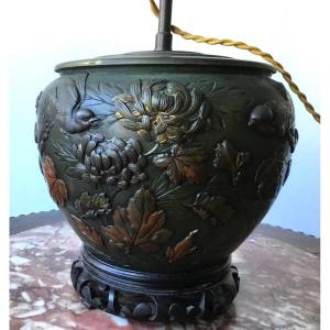 Japon - Époque Meiji , Lampe En Bronze à 2 Patines