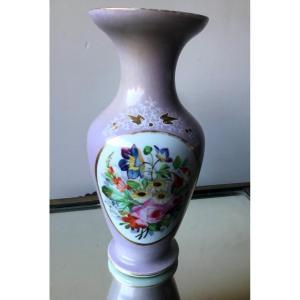 Vase En Porcelaine Parme à Décor De Bouquet De Fleurs, Napoléon III