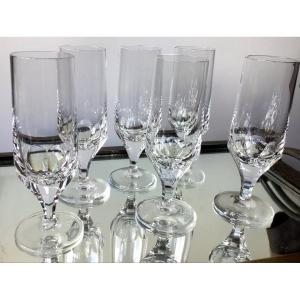 Suite De 6 Flutes En Cristal Art Déco ( Poss 12)