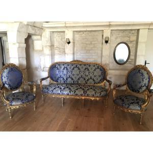 Salon d'Apparat En Bois Doré de  Style Louis XVI