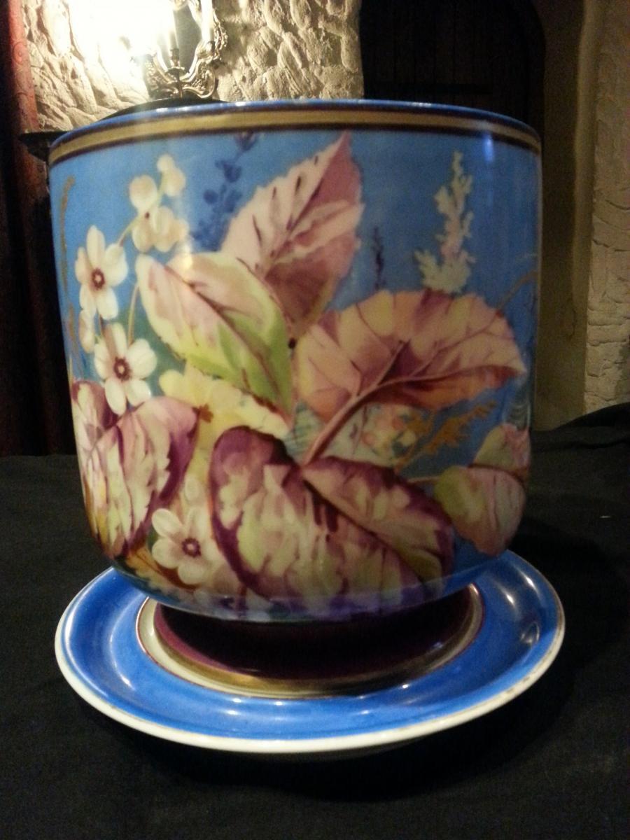 cache-pot et sa soucoupe en porcelaine Napoléon 3