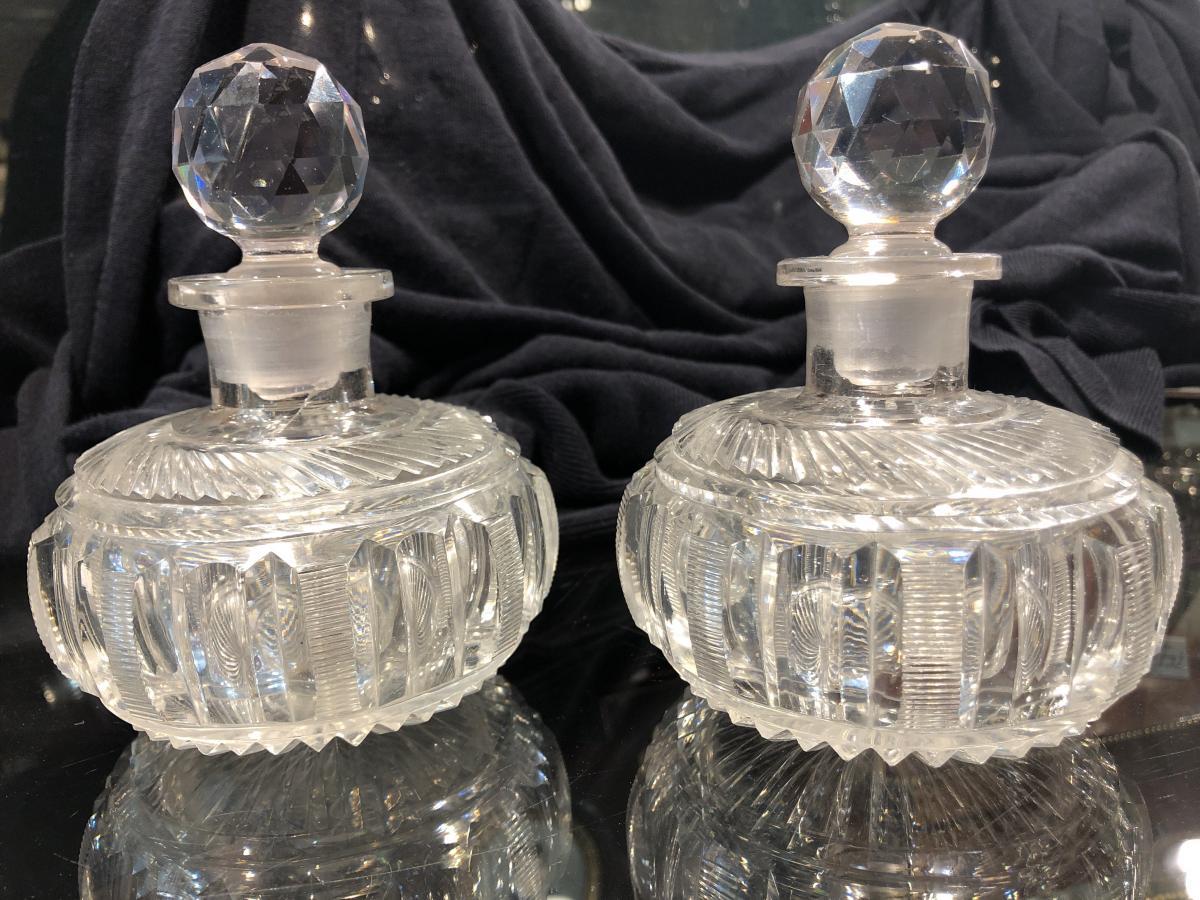 Paire De Flacons à Parfum En Cristal Taillé Du Creusot époque Début XIX Eme