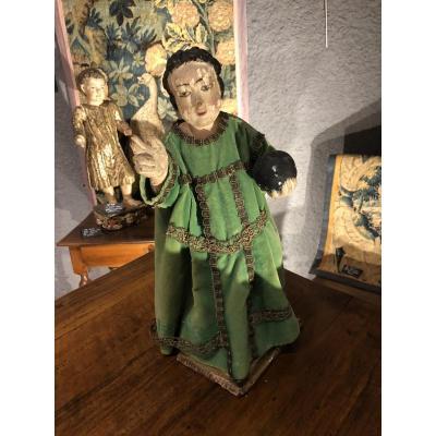 Statue In Wood Time 18 Th Representative Jesus Child