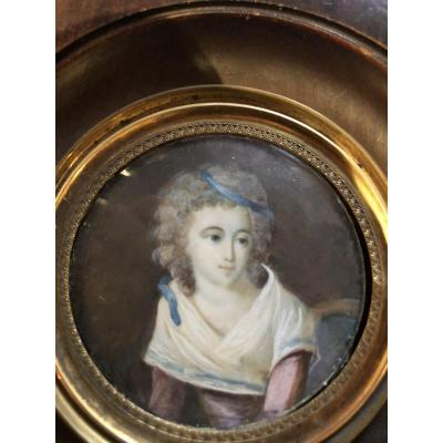 Miniature On Ivory Portrait Of A Young Girl Directoire Period