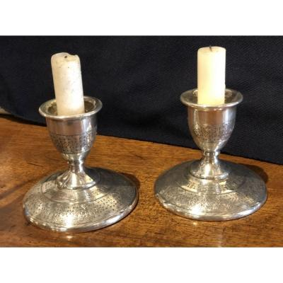 Pair Of Toilet Candlesticks In Sterling Silver 19 Eme