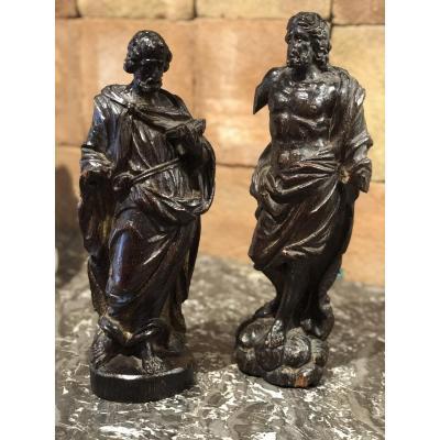 Pair Of Saints In Carved Oak Wood Era 18 Eme Century