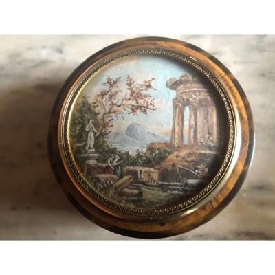 Petite Boîte Circulaire En Thuya , Miniature Ruine Animée Fin XVIII Début XIX Eme
