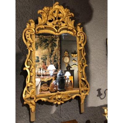 Miroir En Bois Sculpté , Doré Et Laqué Gris  Provence  XVIII Eme Siècle
