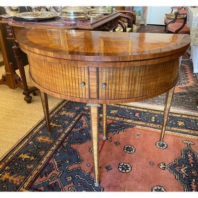 Table à Jeu à Rideau En  Marqueterie époque Directoire  XVIIIème