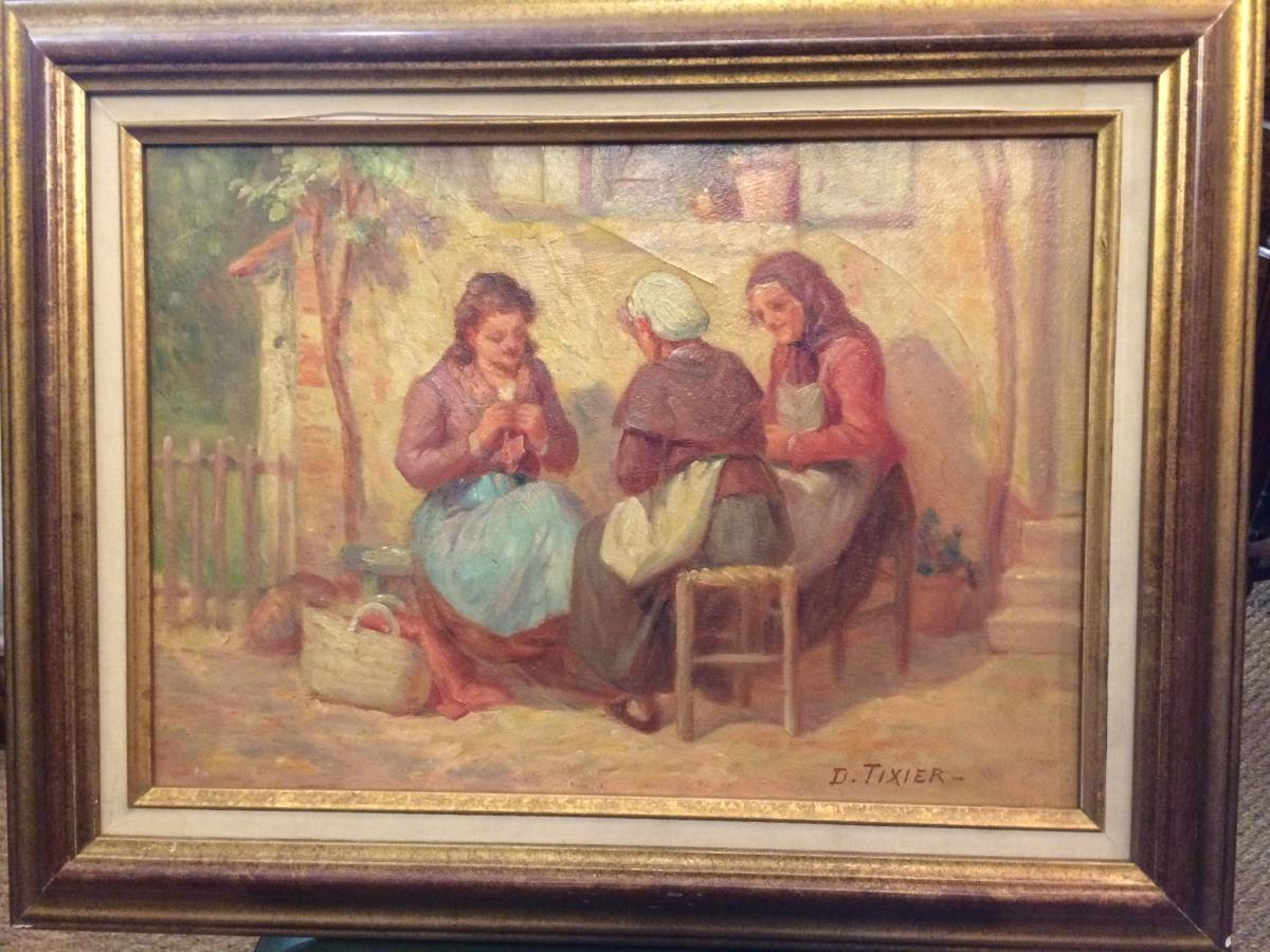 """Tableau """"les Tricoteuses"""" Par Tixier"""