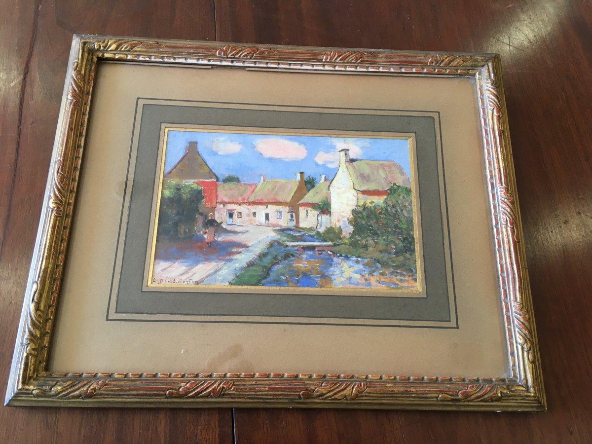 Gouache Village Breton By Duval-gozlan