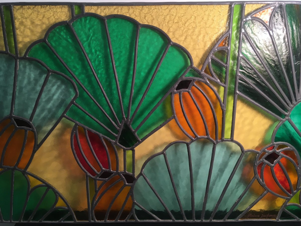 Stained Glass Floral Decor Art Deco Style Ateliers Duchemin
