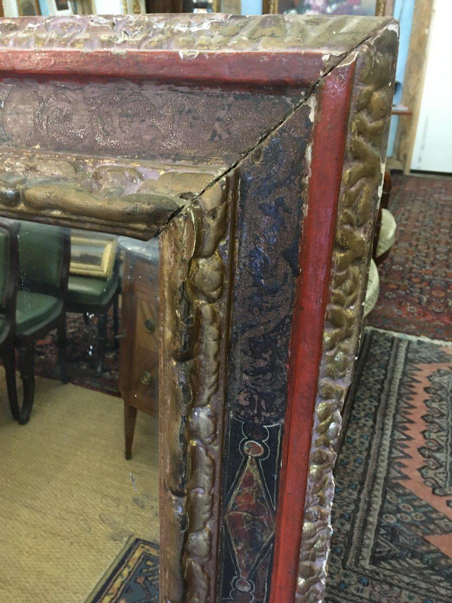 Grand Miroir Dans Un Cadre Espagnol Du XVIIIème Siècle-photo-4
