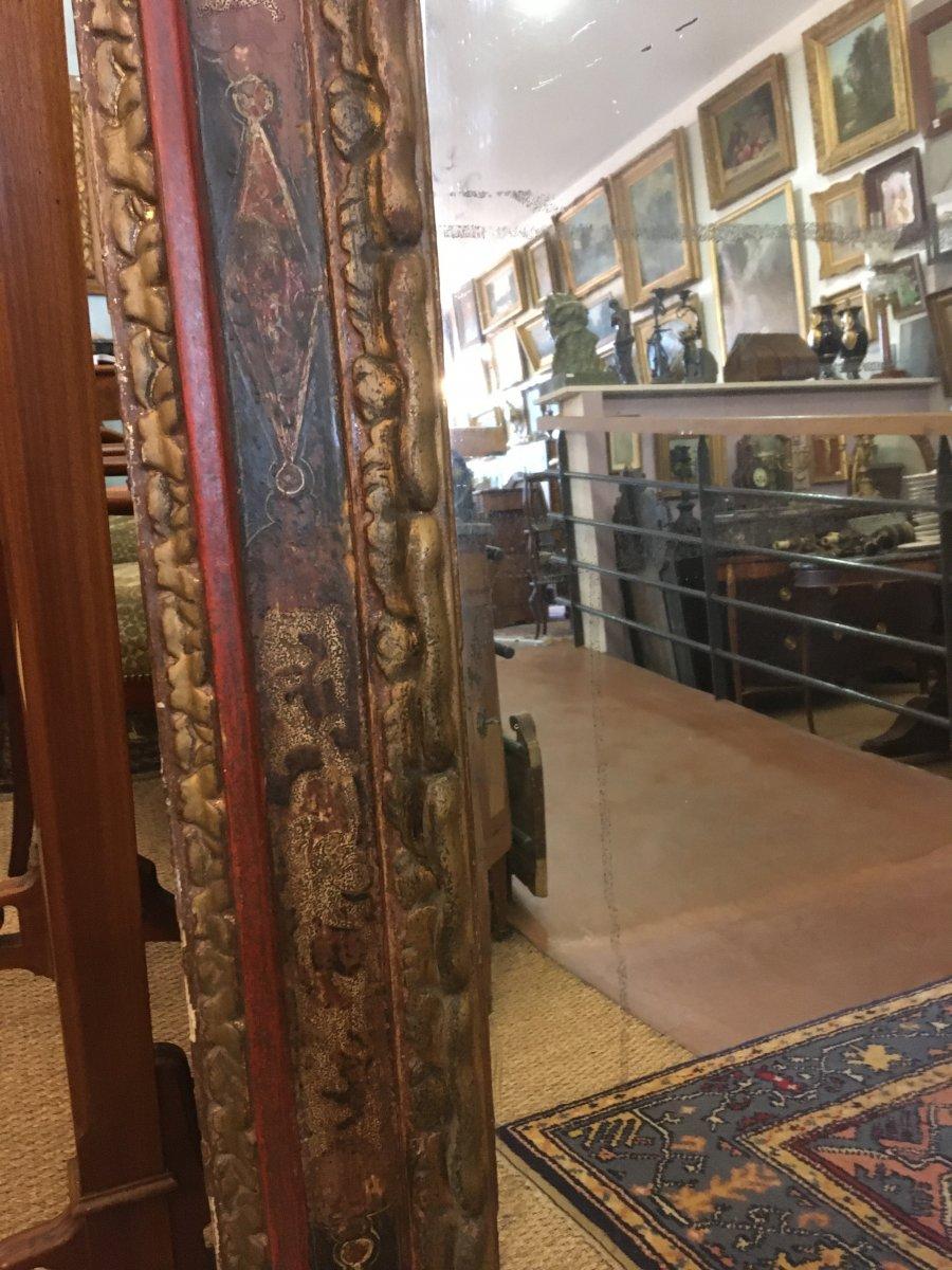 Grand Miroir Dans Un Cadre Espagnol Du XVIIIème Siècle-photo-5
