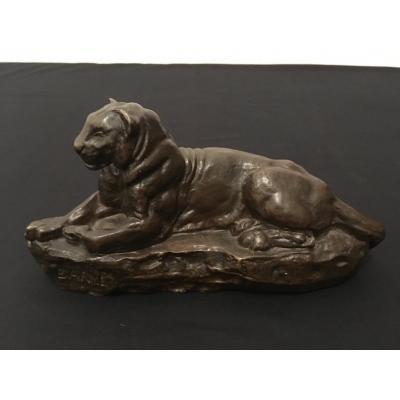 """Bronze """"Panthère de l'Inde"""" par Barye"""