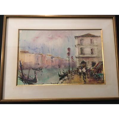 Aquarelle Gondoles à Venise Par Rouault