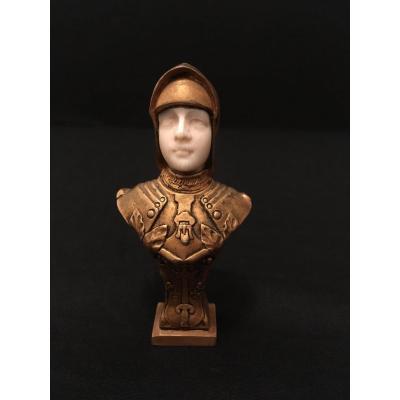 Buste Chryséléphantin Jeanne d'Arc Par Becker