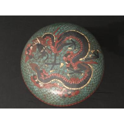 China Dragon Box In Cloisonne Enamels