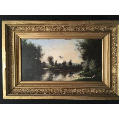 Painting Bord De Rivière By Bonjean School Of Barbizon Nineteenth