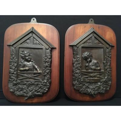 Paire De Plaques Bronze Enfants Aux Fenêtres XIXème Siècle