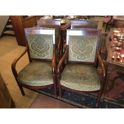 Four Mahogany Empire Armchairs