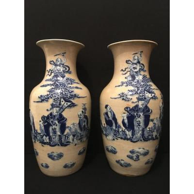 China Pair Of Vases With XIXth Immortals